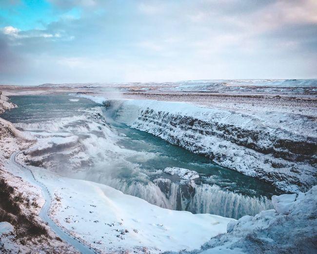 Scenic View Of Gulfoss Waterfall During Winter