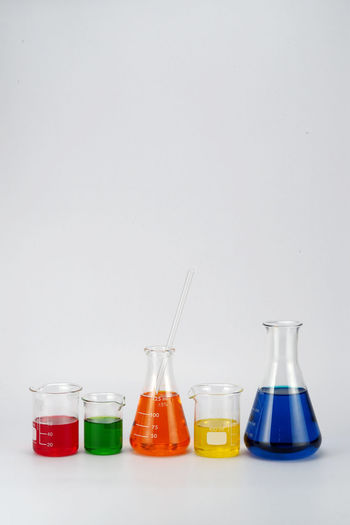 Erlenmeyer Flask Biology Choice Copy Space Glass Rods Gray Background Indoors  Laboratory Liquid Medical Research No People Red Research Science Scientific Experiment Studio Shot Test Tube Test Tube Rack Variation White Background
