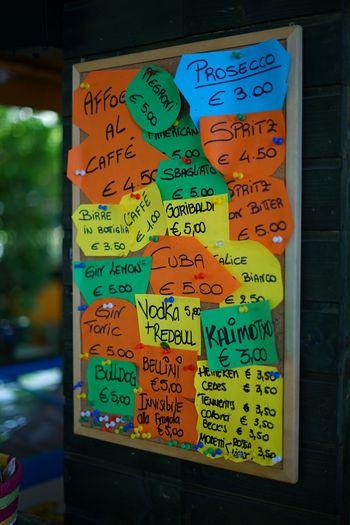 Lavagna Colorata Foglietti Fogli Colori Colors Colore Street Bar Drinks Prices
