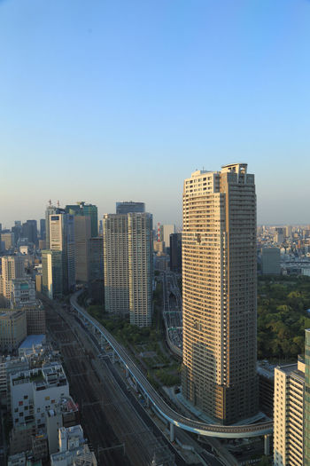 High angle view of buildings against clear sky