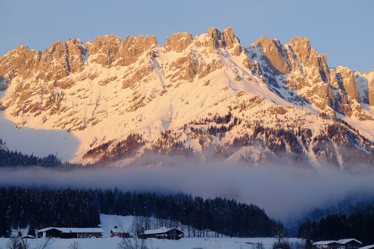Winter Cold Temperature Snow Scenics - Nature Mountain Beauty In Nature Tranquil Scene Tree Tranquility Environment Sky Mountain Range Landscape Nature Plant Idyllic Snowcapped Mountain Outdoors Mountain Peak Skiing Wilder Kaiser Tyrol Alps Fog