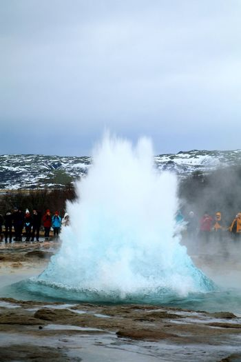 Stokkur Geyser in iceland Geyser Iceland Stokkur Beautyofnature Winterwonderland Wintertime ⛄ Coldoutside Steam Motion Water Hot Spring Power In Nature Volcanic Landscape Erupting Nature Outdoors People Day