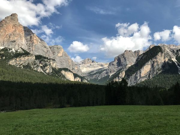 Dolomites, Italy Mountain Sky Cloud - Sky Beauty In Nature Scenics - Nature Tranquil Scene Tranquility Environment Landscape Mountain Range Nature Non-urban Scene No People Idyllic Green Color Tree Grass