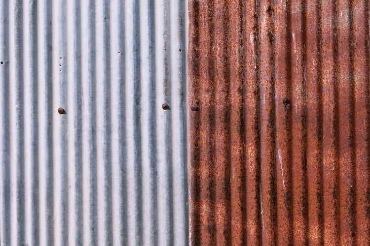 Alloy Backgrounds Built Structure Close-up Corrugated Corrugated Iron Damaged Day Full Frame Iron Iron - Metal Metal No People Old Outdoors Pattern Rusty Sheet Metal Silver Colored Steel Striped Textured  Weathered
