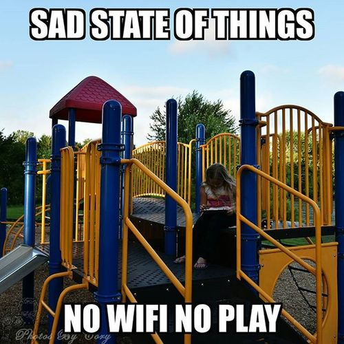 Seriously this is heartbreaking. Use the playground equipment to sit on so you can play the tablet/IPad outside. We all need to Unplug . I'm just as guilty as the next person. But I'm going to work on leaving the phone, tablet,or IPad alone for longer. Livefortoday BeHereNow Nowifinolife Nowifinoplay