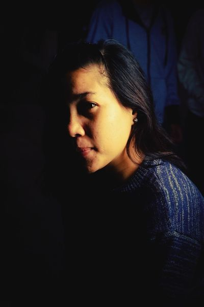 Portrait Headshot Beautiful Woman Close-up Pretty Focus On Shadow Blank Expression Head And Shoulders Long Shadow - Shadow Shadow Introspection Thinking Pensive Asian