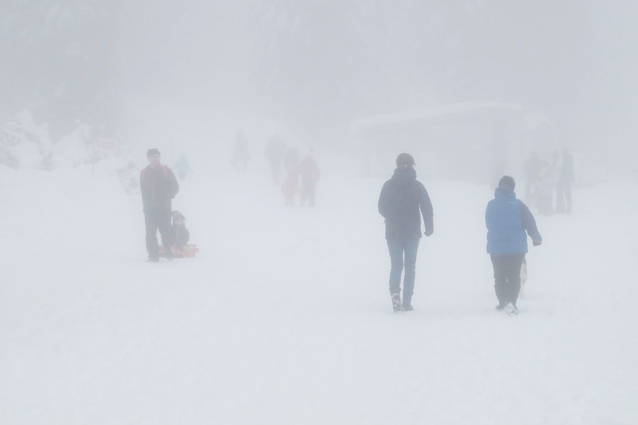 winter, cold temperature, snow, weather, fog, nature, full length, walking, beauty in nature, warm clothing, rear view, real people, men, scenics, leisure activity, snowing, extreme weather, frozen, outdoors, landscape, day, adventure, lifestyles, togetherness, tree, friendship, sky, people