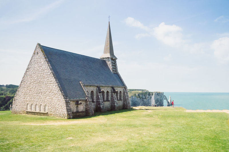Chapel on by sea at etretat