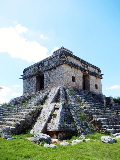 Mayan ruins Temple Sun Temple Sky Angle Corner Mexico Yúcatan Hystory Sky Architecture Building Exterior Grass Built Structure Civilization Ancient Civilization Old Ruin Pyramid Mayan Triangle Stone Material Ancient Archaeology Ancient History The Traveler - 2018 EyeEm Awards The Great Outdoors - 2018 EyeEm Awards Summer Road Tripping