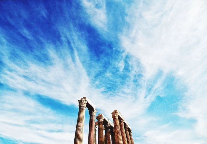 ZEUS Sky Low Angle View Built Structure Architecture Cloud - Sky Building Exterior No People Outdoors Landscape Skyporn The Sky Is Always Beautiful Enjoying Life Taking Photos Minimalism Architecture Greece Athens Zeus Temple Grecia God Dio Olympus Acropolis