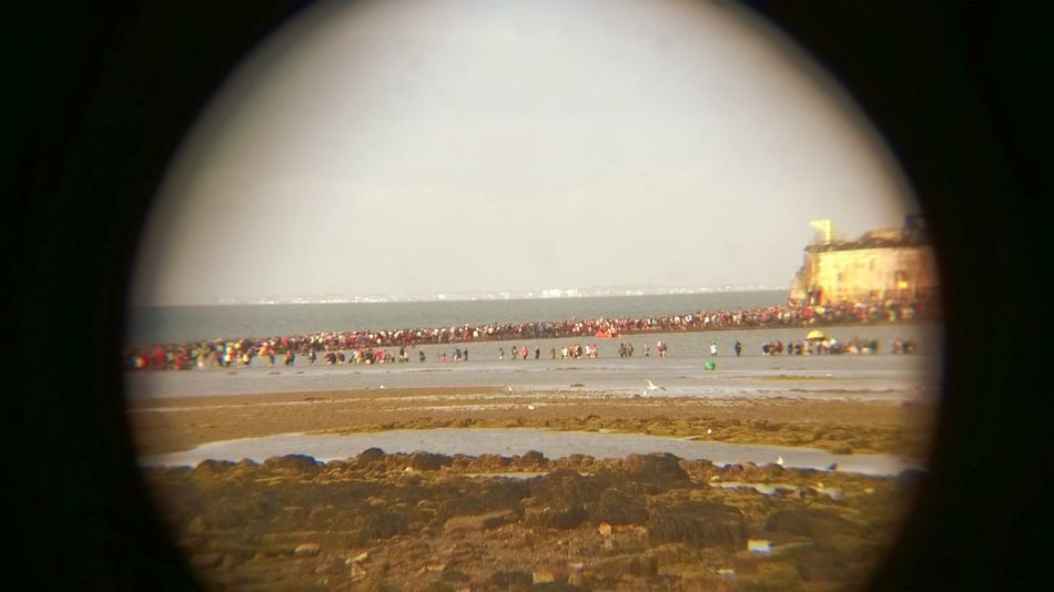 Photograph through a pair of bonoculars of the Bembridge Fort walk (google it). Sea Walk Isle Of Wight