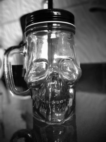 Coffemug Skull Skull Bnw_friday_eyeemchallenge Bnw_collection Monochrome Photography Monochrome _ Collection Drink Indoors  Drinking Glass Close-up Day