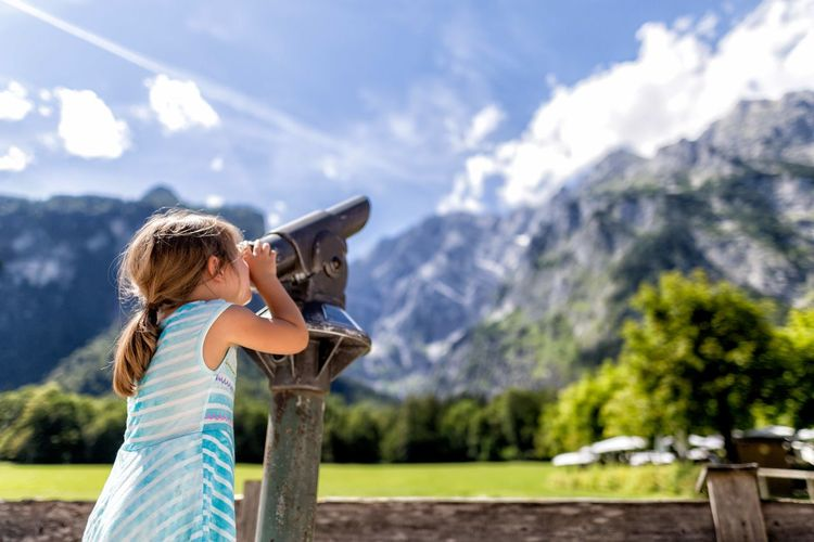 Little explorer Beauty In Nature Binoculars Child Childhood Day Females Innocence Leisure Activity Lifestyles Mountain Mountain Range Nature One Person Outdoors Real People Women
