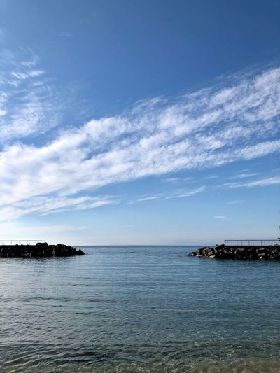 Water Sky Sea Scenics - Nature Tranquility Cloud - Sky Tranquil Scene Outdoors Waterfront No People Idyllic Horizon Over Water Horizon Rippled Beauty In Nature Day Nature Land Blue