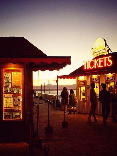 Seattle Seattle Waterfront Big Wheel Tickets Amateurphotography IPhoneography Iphoneonly Pugetsound EyeEm Best Shots Eye4photography  EyeEmBestPics Sunset Evening Sky