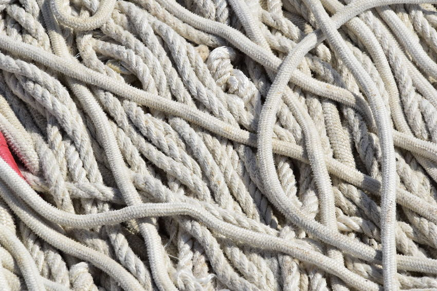 Close-up Day Full Frame Nautical Equipment Rope Rope Art Tangled Textured  Water