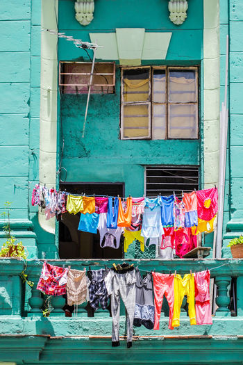 Cuba Building Exterior Architecture Built Structure Multi Colored Hanging Laundry Clothing Drying Window Clothesline No People Day Building Textile Outdoors Choice House Material Variation Cleaning Cuba Havana