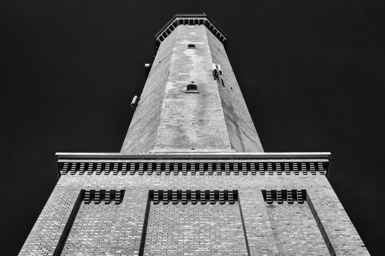 architecture, tower, built structure, no people, low angle view, building exterior, lighthouse, outdoors, night, close-up, clear sky, sky