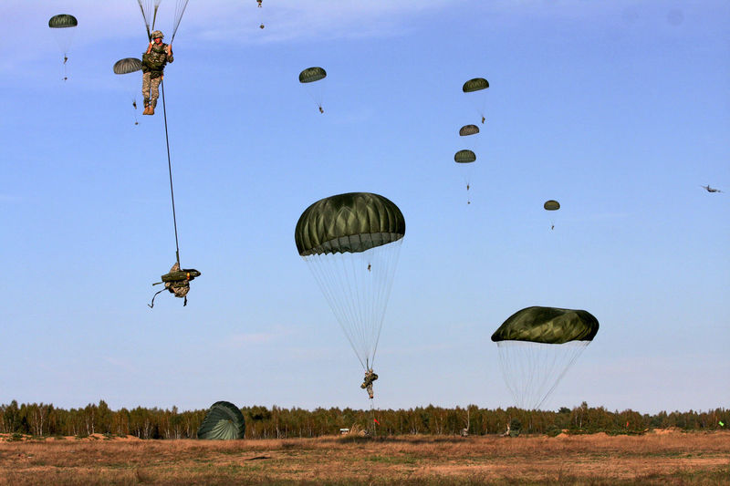 Adventure Flying Military Exercise NATO Parachute Parachute Jump Team Parachutes In Formation Paratroopers Soldiers Traverse