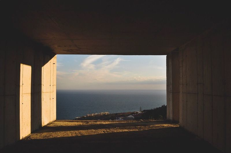 Sea Horizon Over Water Built Structure Sunlight No People Window