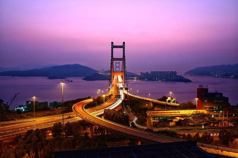 車軌 - 青馬大橋 Light Trail Tsing Ma Bridge Transportation Architecture Traffic Sunset Night Cityscape Silhouette Sunset Glow Beauty In Nature Things I Like Hanging Out Fine Art Photograhy Sunset Lovers Evening Sky Hong Kong