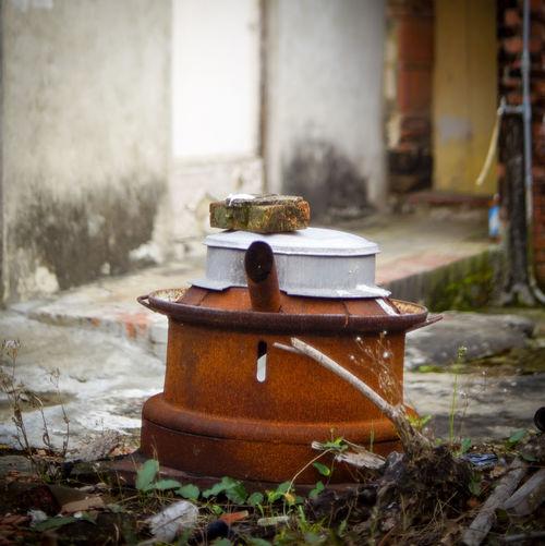 Abandoned rusty wood burning stove