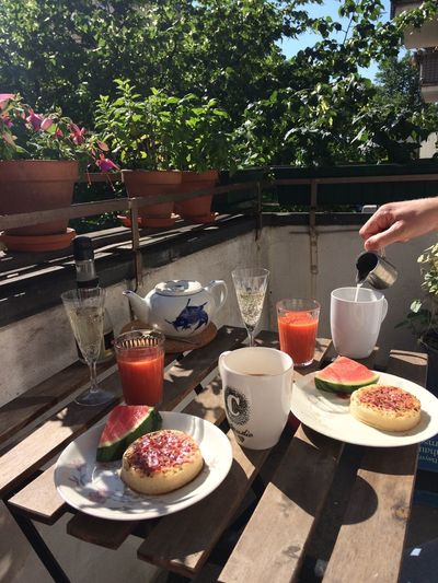 Birthday champagne breakfast Sekt Breakfast Food And Drink Food Plate Drink Table Refreshment Freshness Drinking Glass Human Hand Sunlight Ready-to-eat Cup Day Plant Glass