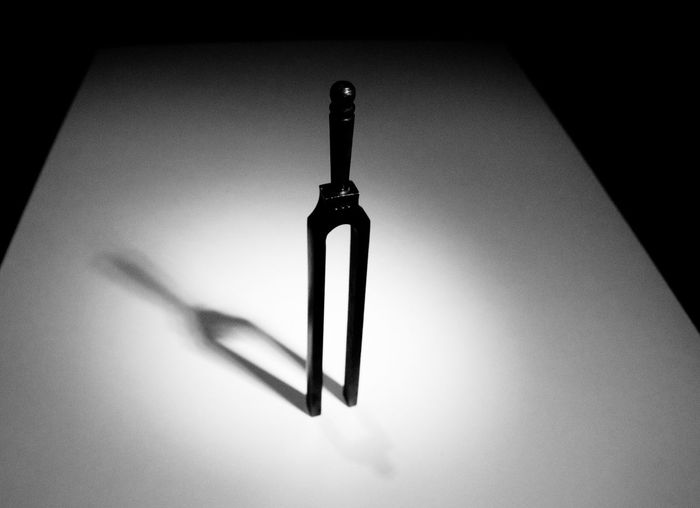 Metal tuning fork casting a shadow Tuning Fork Tuningfork 440hz Note Music Instrument Vintage Reference Metal Accuracy Vibration Shadow Sound Blackandwhite Black And White