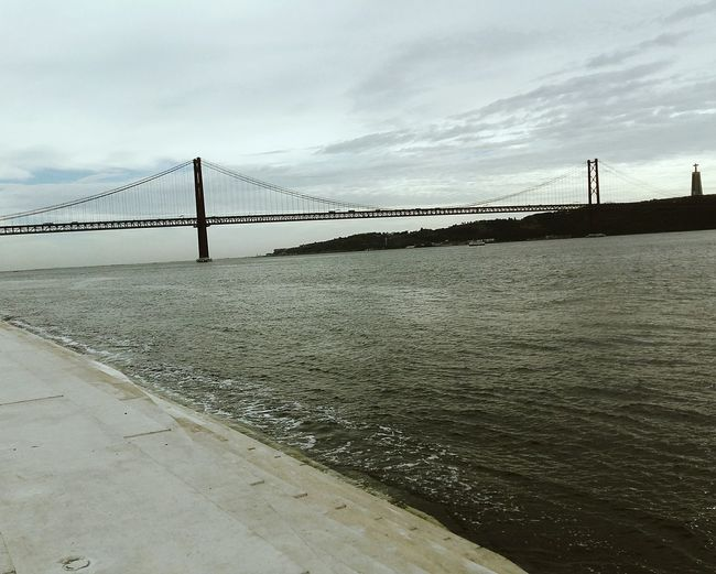 Bridge - Man Made Structure Water Connection Nature Sky Suspension Bridge Lisbon - Portugal Look At This View! Low Angle View Tranquility Built Structure Cloud - Sky