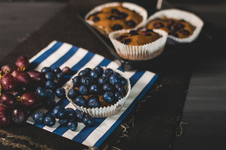 Close-up of blueberries in muffins on table