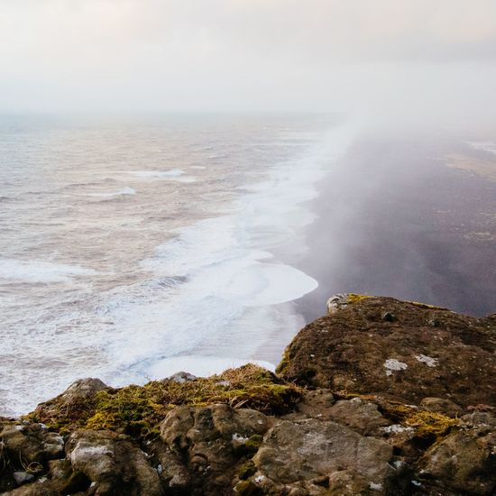 Icelandic point of view Rocks High Angle View Black Sand Black Sand Beach Black Sand Beach Iceland Fog Wind Sea Water Nature Beauty In Nature Rock - Object No People Day Outdoors Scenics Horizon Over Water Power In Nature Wave Sky Force