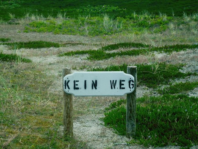 """KEIN WEG """"Ach, Danke für den Hinweis!"""" ... No Way No Way Out No Way In Way To Nowhere Dunes Sylt, Germany Sylt 2016 Grassland Grass Green Color Green Green Nature Break The Mold Breathing Space Typography Typography & Design"""