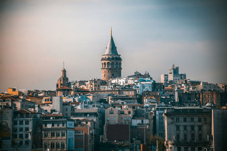 View of buildings in city against sky istanbul galata