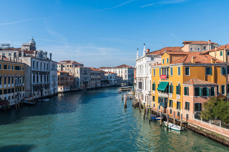 Corns and canals of venice. the grand canal from the accademia bridge. in history. italy