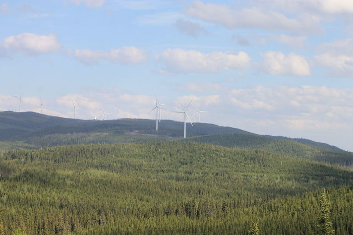 Alternative Energy Beauty In Nature Day Field Fuel And Power Generation Grass Green Color Growth Industrial Windmill Landscape Mountain Nature No People Outdoors Saguenay, Québec, Canada Sky Wind Power Wind Turbine Windmill The Week On EyeEm EyeEmNewHere Gridlove
