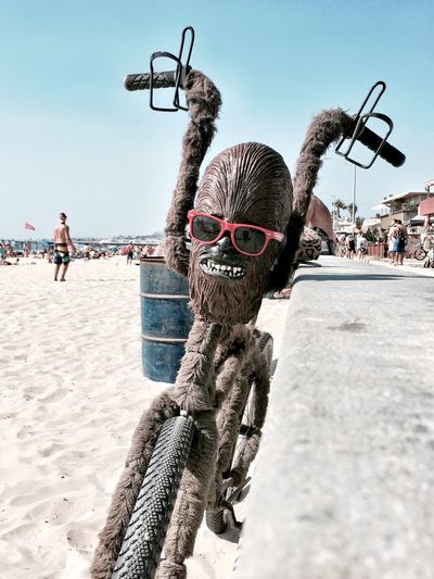 A fuzzy, Chewbacca bike with cup holders and sunglasses. Nothing unusual in a beach town. Awesome Beach Beachphotography Bicycle Bike Boardwalk Chewbacca Chewbaccalove Cool Eclectic Mission Beach Mission Beach,San Diego Outdoors Ride San Diego Star Wars Unique Art Is Everywhere