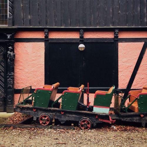 Old Train Wagons for the Historical Roller Coaster at the Theme Park Bakken near Copenhagen oOut Of Season