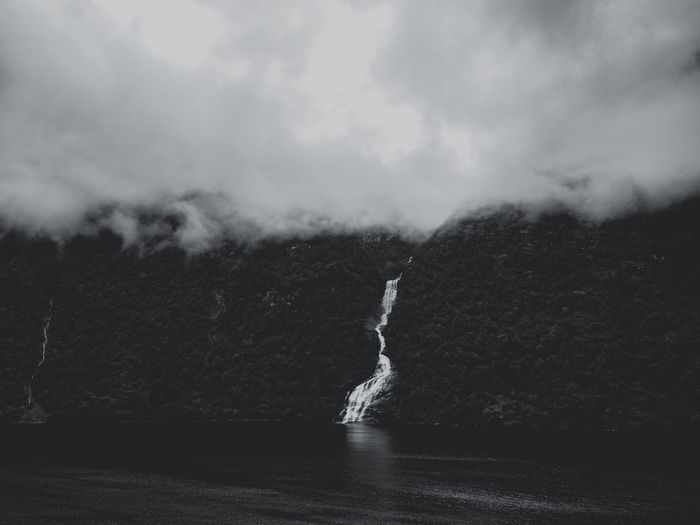 Water Nature Outdoors Landscape Waterfall In Mountain Black And White Geirangerfjord Geiranger,Norway Geiranger Fjord Beauty In Nature Mist Clouds