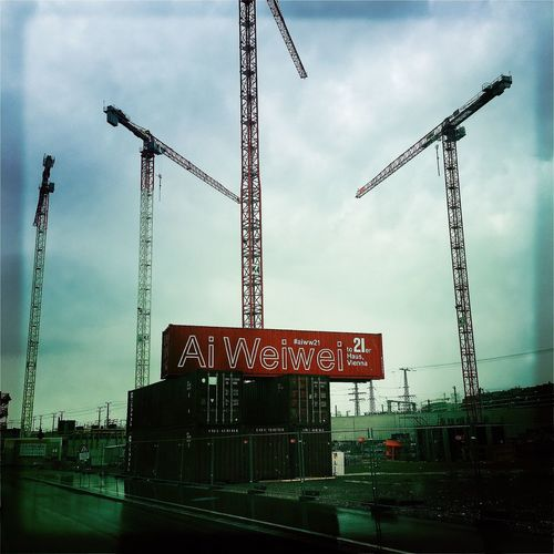 Aiweiwei Vienna Crane - Construction Machinery Development Construction Site Crane Low Angle View Construction Industry Built Structure Construction Architecture Tall - High Industry Sky Incomplete Progress Building Exterior Cloud Tall Day Outdoors Construction Machinery