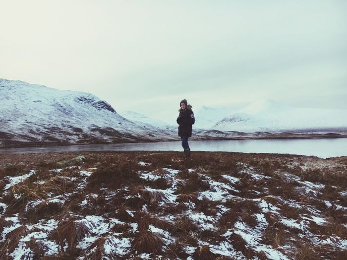 Loch  Scotland Loch  Glencoe Mountain Resort Glencoe Home Happy Love Glencoe Scotland Winter Snow Cold Temperature Nature One Person Full Length One Woman Only Beauty In Nature Outdoors Landscape Ice Frozen Water