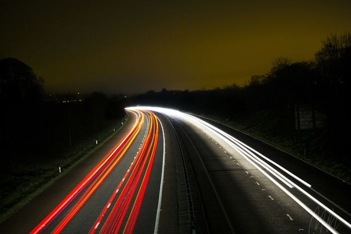 I tried doing some light trails the other night and this was the result Light Trails Night Long Exposure Lights Road Car Northern Ireland Light Pollution