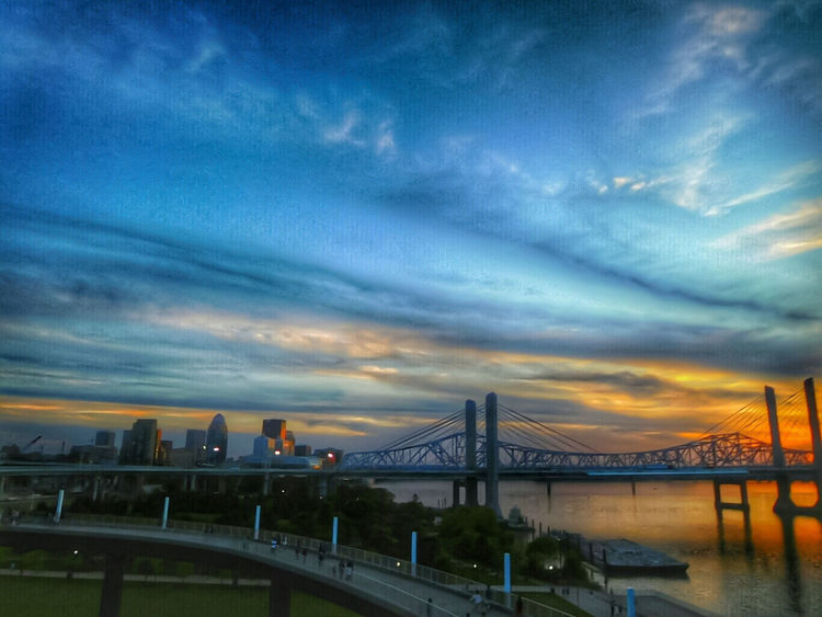 Monday's Sunset From My Point Of View of Waterfront Park in Louisville, Kentucky Louisville Color Photography Ohio River Louisville Skyline Louisville Waterfront Park