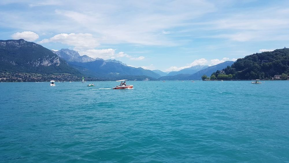 Annecy Lake Mountain Water Beauty In Nature Blue Tranquil Scene Vacations Cloud - Sky Tranquility Alpesmountain Annecy, France Lake View Landscape