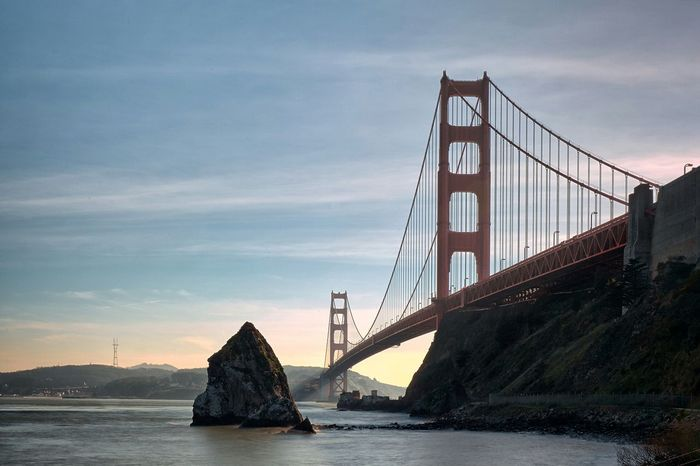 I love my beautiful bay area. Golden Gate Bridge Sunset San Francisco Bay Area Rocks And Water