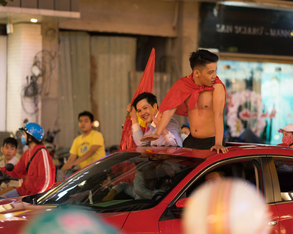 Vietnam storms to U23 Asian Cup final after beating Qatar on penalties AFC U23 Championship ASIA Ho Chi Minh City Vietnam Adult Adults Only Car Day Friendship Group Of People Indoors  Lifestyles Men Party People Real People Smiling Soccer Standing Togetherness Transportation Young Adult Young Men Young Women