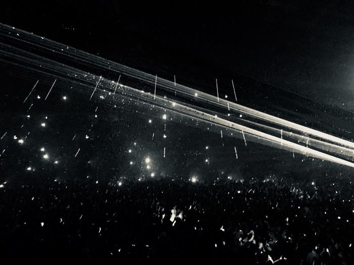 Crowd Flashlight Blackandwhite Light And Shadow Concert Night Transportation Speed Road Outdoors No People Illuminated
