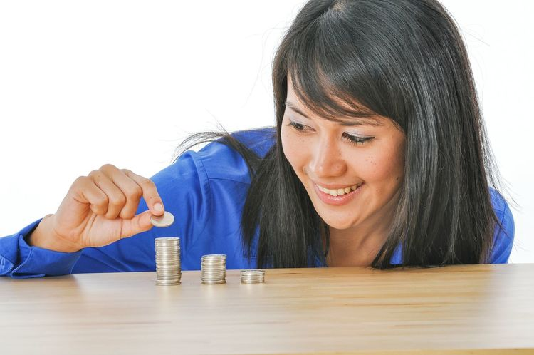 TwentySomething Hoping  Counting Money Portrait Of A Woman Photography Coins Studio Model Shoot