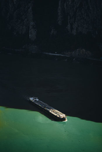 High angle view of ship on sea shore