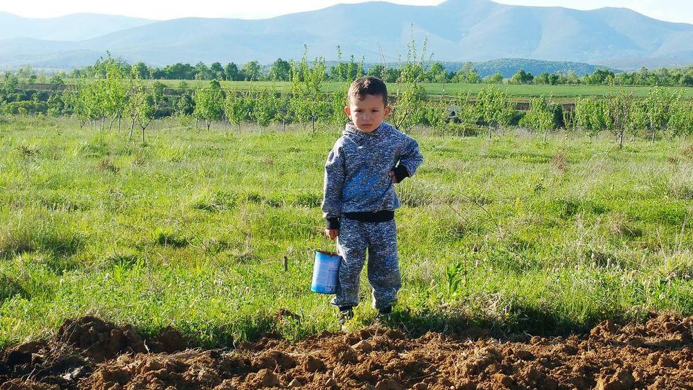 Toni,little farmer ☺⛏🚜🌄 Summer Exploratorium Child Childhood Full Length Agriculture Field Spraying Sky