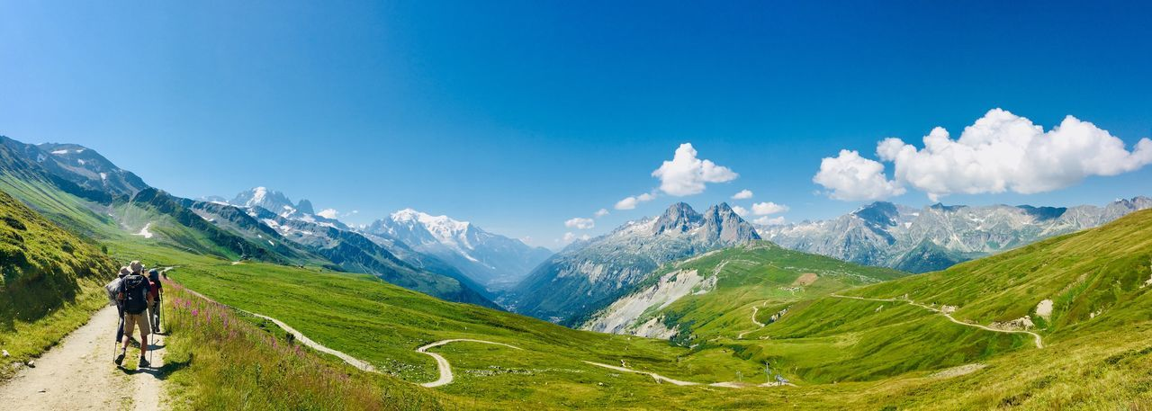 Mont Blanc Tour De Mont Blanc Tmb Montblanc Sky Scenics - Nature Mountain Beauty In Nature Mountain Range Tranquil Scene It's About The Journey Cloud - Sky Green Color Blue Nature Non-urban Scene It's About The Journey